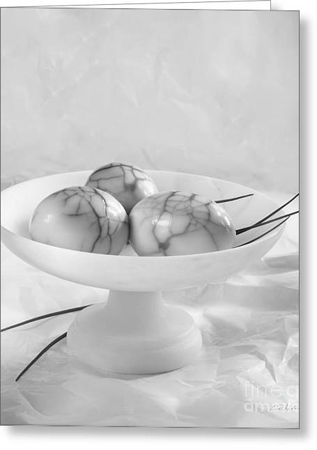 Cracked Eggs Greeting Cards - Three Smoked Eggs Pealed Black and White Greeting Card by Iris Richardson
