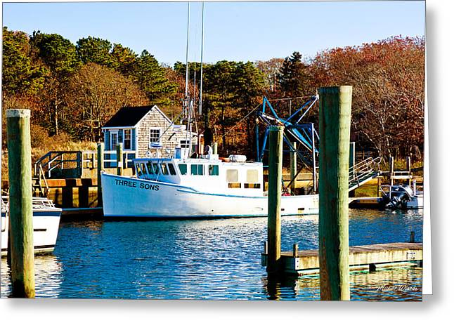 Harwich Greeting Cards - Three Sons Harwich Port Cape Cod Greeting Card by Michelle Wiarda