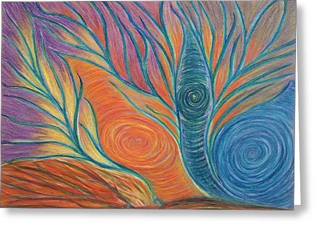 Transformations Pastels Greeting Cards - Energies Arising Greeting Card by Jamie Rogers