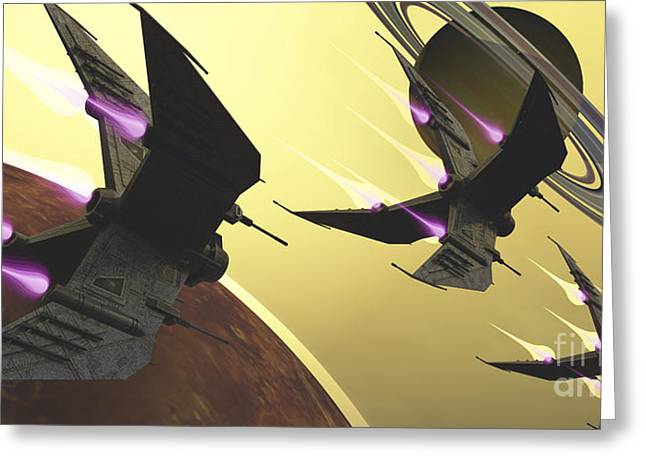 Warp Speed Greeting Cards - Three Spacecraft Pass By One Of Saturns Greeting Card by Corey Ford