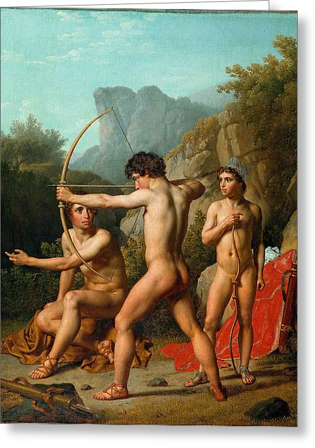 Archery Paintings Greeting Cards - Three Spartan boys practising archery Greeting Card by Christoffer Wilhelm Eckersberg