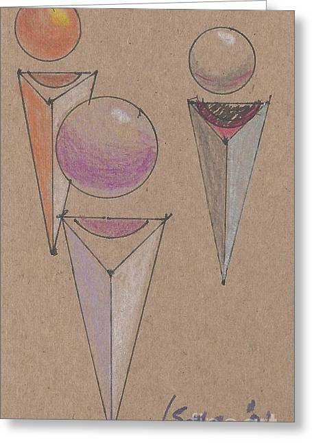 Cardboard Drawings Greeting Cards - Three Spheres Floating Over Three Quadrelaterals Greeting Card by Rod Ismay