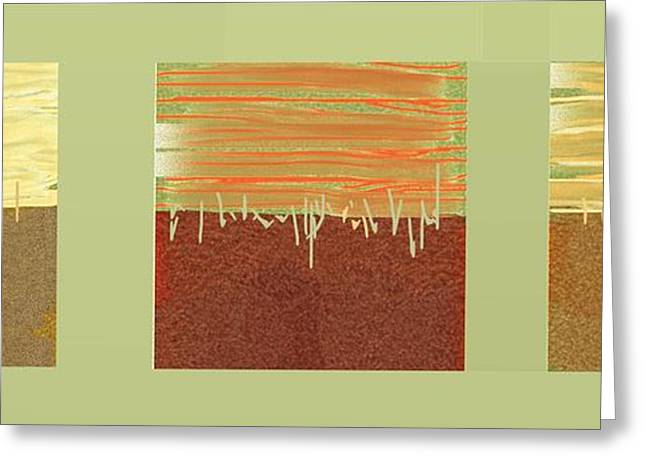 Abstract Digital Paintings Greeting Cards - Three squares Greeting Card by Nedunseralathan R