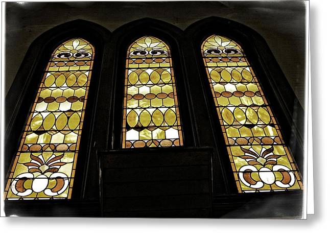 Stained Glass 3 Greeting Cards - Three Stained Glass Windows Greeting Card by Image Takers Photography LLC - Carol Haddon