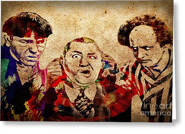20th Greeting Cards - Three Stooges Graffiti Greeting Card by Gary Keesler