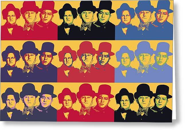 Comedian Greeting Cards - Three Stooges Pop Art Collage Greeting Card by Dan Sproul