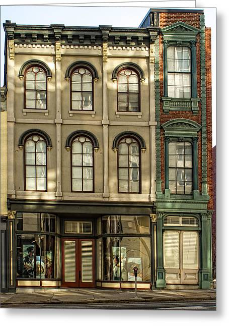 Main Street Greeting Cards - Three Stories on Main Greeting Card by Tim Wilson