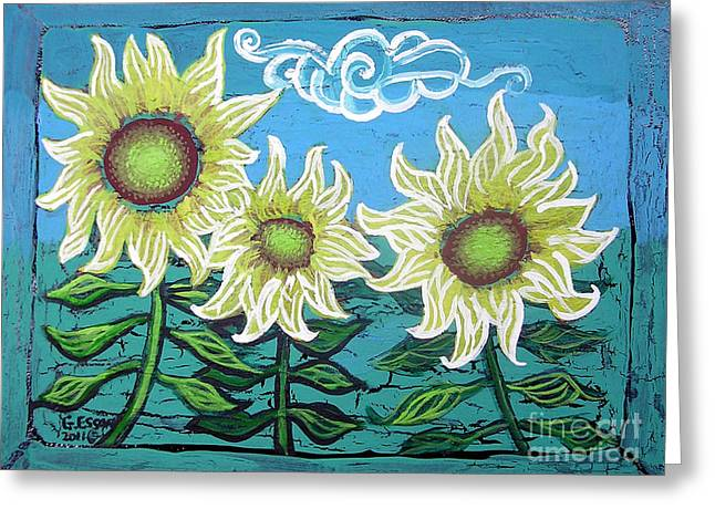 Print On Canvas Greeting Cards - Three Sunflowers Greeting Card by Genevieve Esson