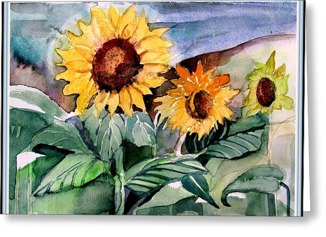 Mid West Landscape Art Greeting Cards - Three Sunflowers Greeting Card by Mindy Newman