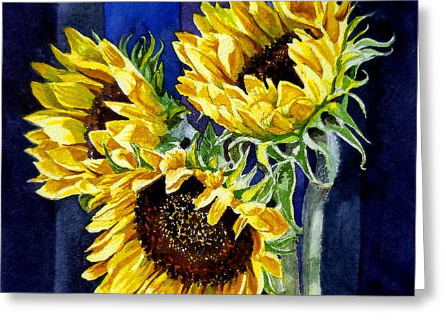 Three Sunny Flowers Greeting Card by Irina Sztukowski