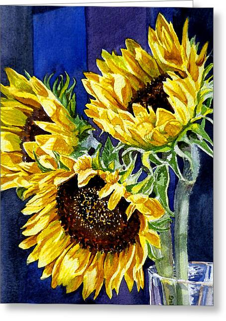 Yellow Brown Greeting Cards - Three Sunny Flowers Greeting Card by Irina Sztukowski