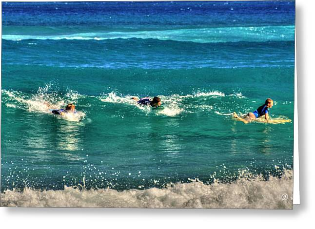Shade Pyrography Greeting Cards - Three Surfers and Blue Water Greeting Card by Julis Simo
