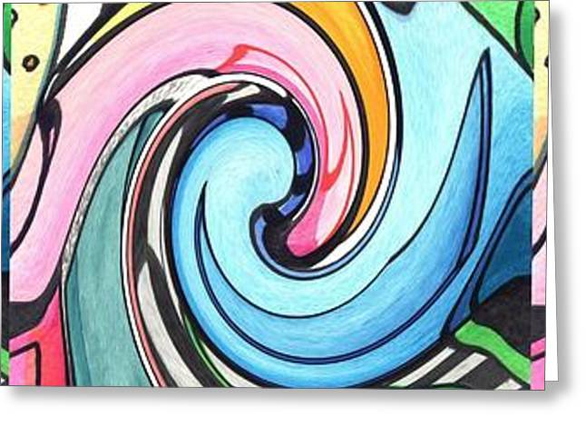 Ying Greeting Cards - Three Swirls Greeting Card by Helena Tiainen