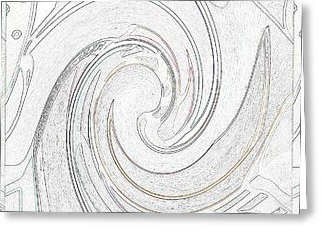Abstract Digital Mixed Media Greeting Cards - Three Swirls On White Greeting Card by Helena Tiainen