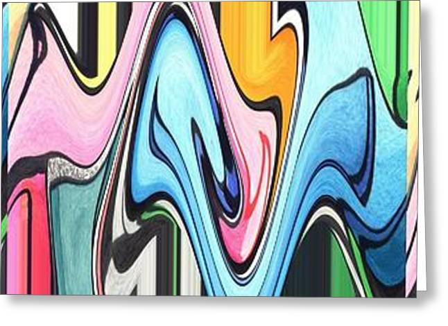 Abstract Forms Greeting Cards - Three Swirls Rippled Greeting Card by Helena Tiainen