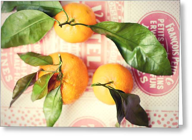 Tangerine Greeting Cards - Three Tangerines Greeting Card by Lupen  Grainne