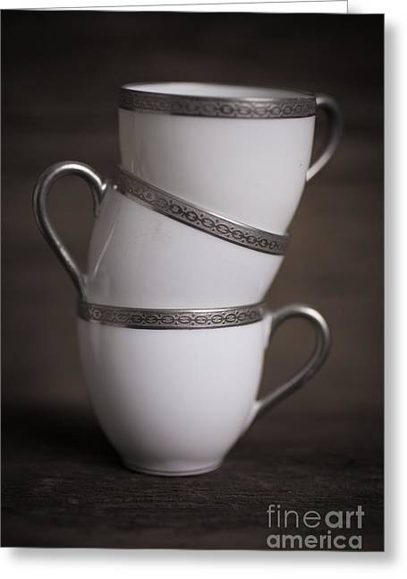 White China Cup Greeting Cards - Three Tea Cups Greeting Card by Edward Fielding