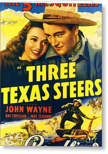 John Wayne Prints Greeting Cards - Three Texas Steers Greeting Card by Pg Reproductions
