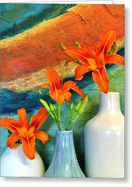 Floral Photos Mixed Media Greeting Cards - Three Tigerlilies in a Vase Greeting Card by Marsha Heiken