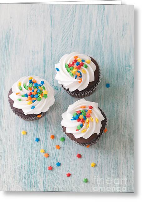 Cupcake Photography Greeting Cards - Three Times the Fun Greeting Card by Kay Pickens