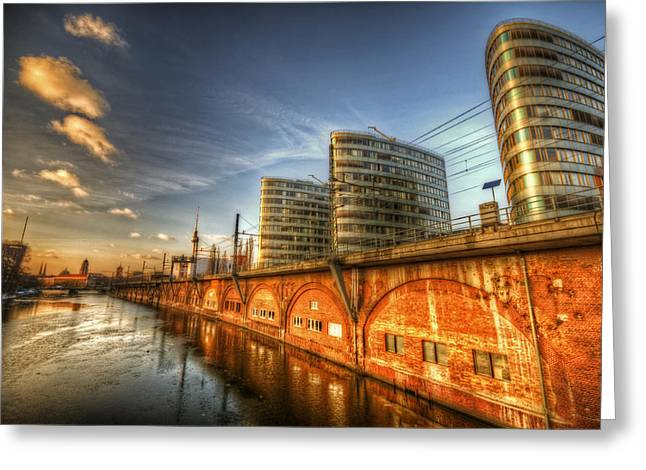 White River Scene Digital Art Greeting Cards - Three towers Berlin Greeting Card by Nathan Wright