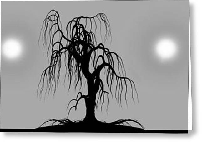 Moonrise Greeting Cards - Three Trees Greeting Card by Bob Orsillo