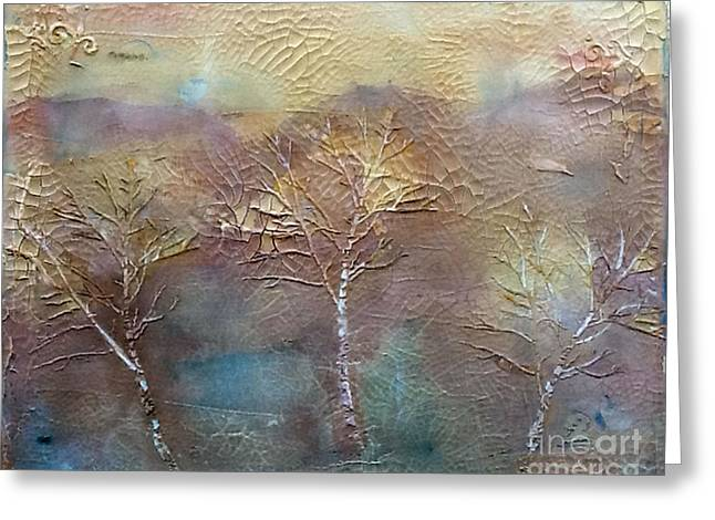 Three Trees Greeting Card by Diane Maley
