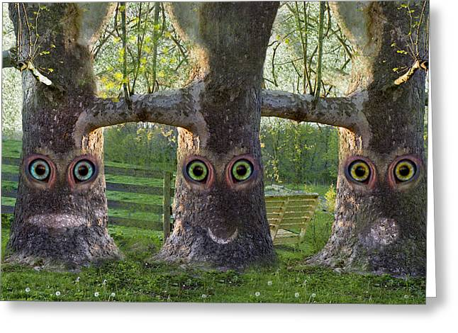 Story Time Greeting Cards - Three Trees Greeting Card by Betsy C  Knapp