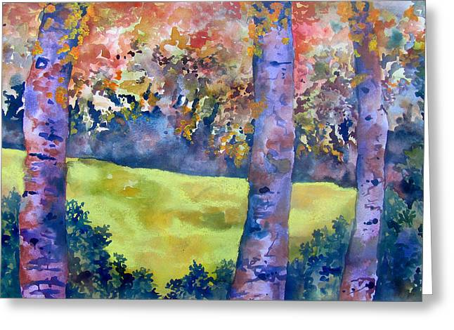 Indiana Autumn Paintings Greeting Cards - Three Trees Greeting Card by James Huntley