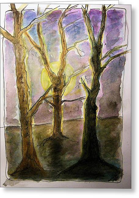 Conversations Drawings Greeting Cards - Three Trees Greeting Card by Mimulux patricia no