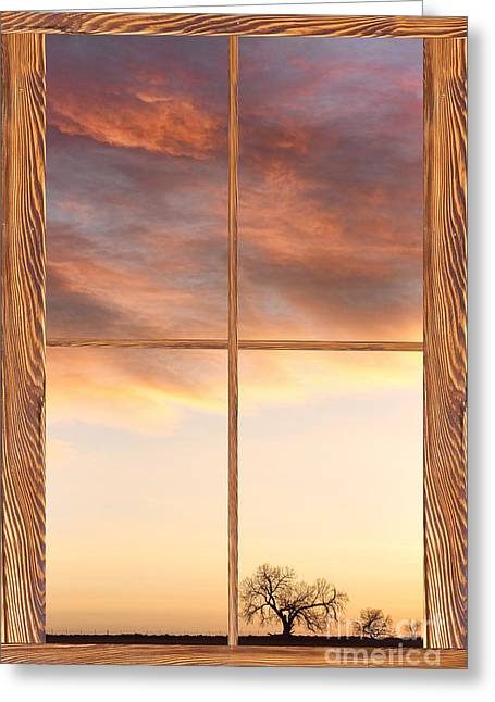 Country Pictures Greeting Cards - Three Trees Sunrise Barn Wood Picture Window Frame View Greeting Card by James BO  Insogna