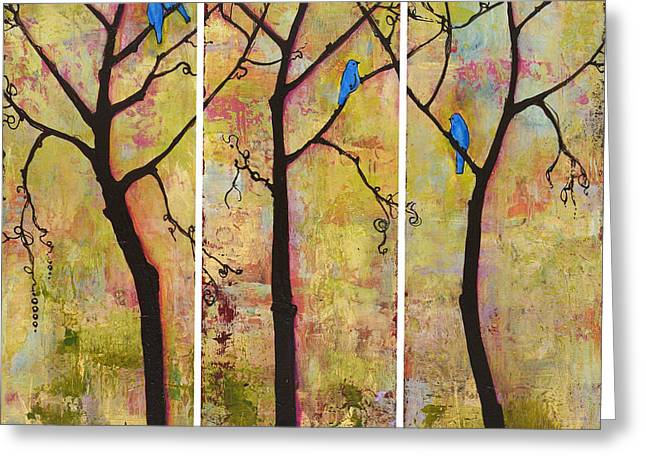 Contemporary Wall Decor Greeting Cards - Three Trees Triptych Greeting Card by Blenda Studio