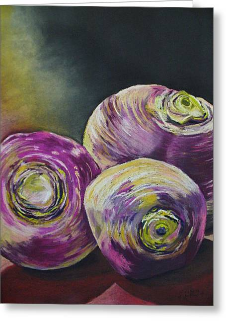 Roots Pastels Greeting Cards - Three Turned Up Greeting Card by Outre Art  Natalie Eisen