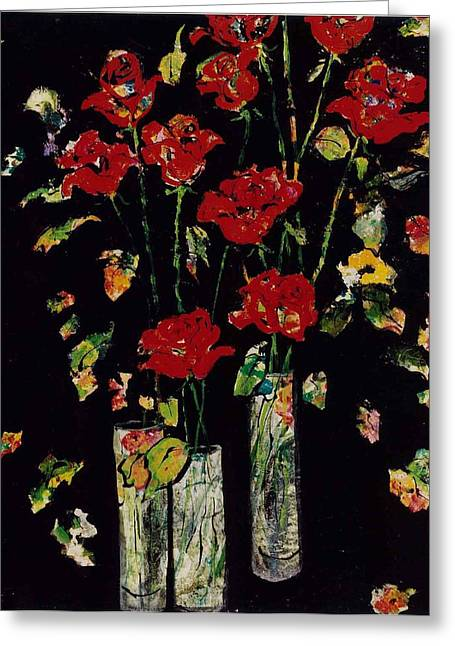 Vase Of Flowers Mixed Media Greeting Cards - Three Vases with Roses Greeting Card by Elaine Elliott
