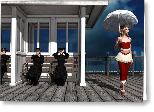 Provocation Greeting Cards - Three victorian ladies and the scandal Greeting Card by Britta Glodde