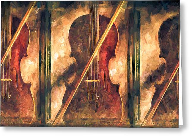 Violin Greeting Cards - Three Violins Greeting Card by Bob Orsillo