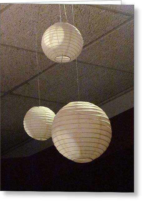 Guy Ricketts Photography Greeting Cards - Three White Orbs with Strings Attached  Greeting Card by Guy Ricketts