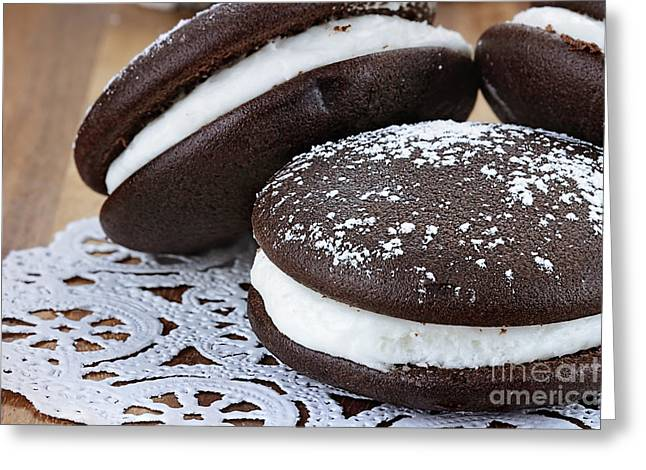 Sandwich Cookie Greeting Cards - Three Whoopie Pies or Moon Pies Greeting Card by Stephanie Frey