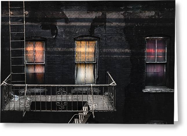 New York City Fire Escapes Greeting Cards - Three windows and ladder - As seen from the Manhattan bridge Greeting Card by Gary Heller