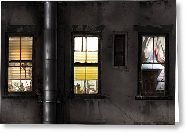 Night Scenes Greeting Cards - Three windows and pipe - The story behind the windows Greeting Card by Gary Heller