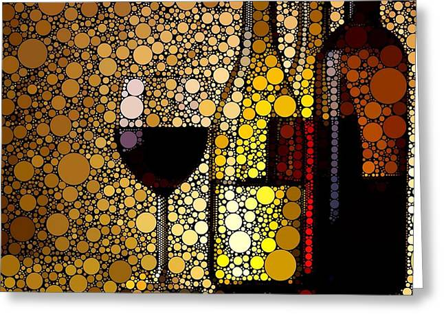 Red Wine Prints Digital Art Greeting Cards - Three Wines Greeting Card by Cindy Edwards