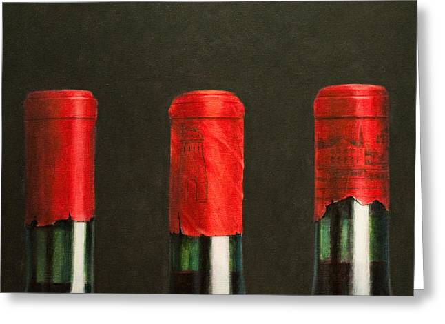 Red Wine Bottle Greeting Cards - Three Wines Greeting Card by Lincoln Seligman