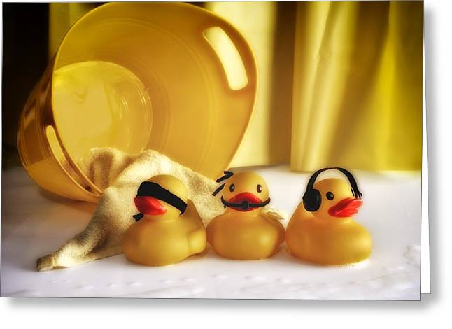 Rubber Ducky Greeting Cards - Three Wise Duckies Greeting Card by Mark Fuller