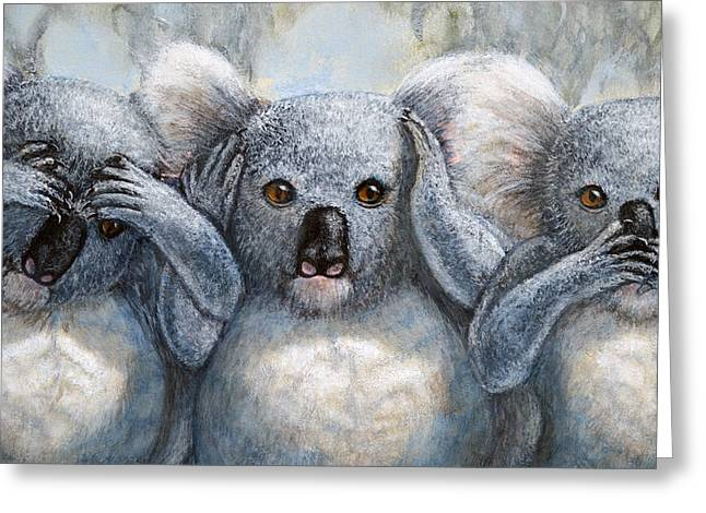 Seen Pastels Greeting Cards - Three Wise Koalas close up Greeting Card by David Clode