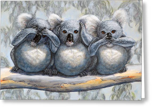 Seen Pastels Greeting Cards - Three Wise Koalas see no evil hear no evil speak no evil Greeting Card by David Clode