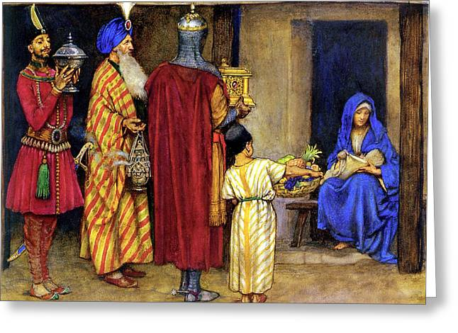 Jesus Christ Images Digital Art Greeting Cards - Three Wise Men Bearing Gifts Greeting Card by Eleanor Fortescue Brickdale