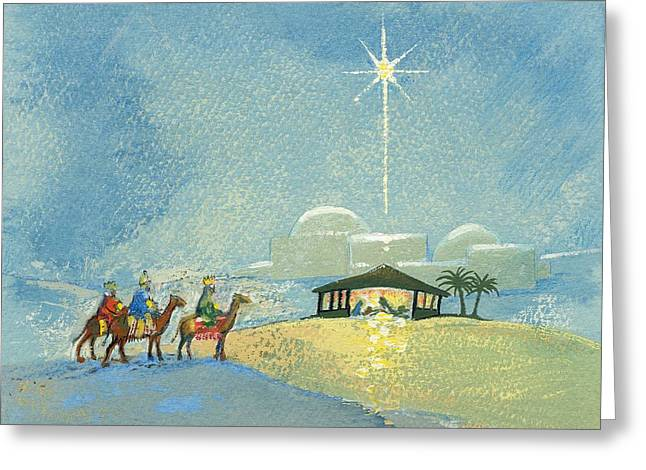 Religious Paintings Greeting Cards - Three Wise Men Greeting Card by David Cooke
