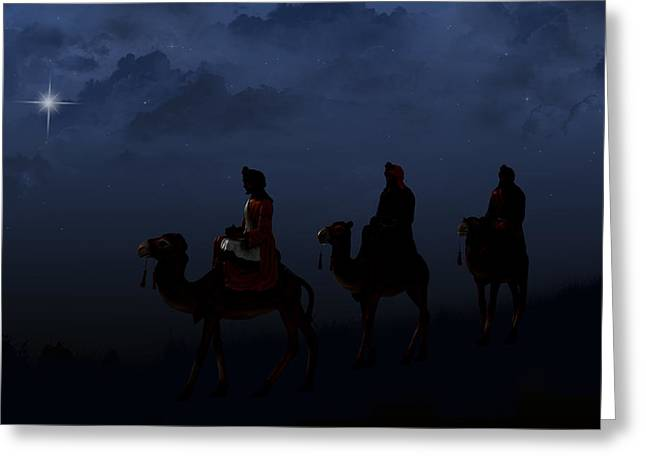 Royalty Mixed Media Greeting Cards - Three Wise Men Greeting Card by Maria Dryfhout
