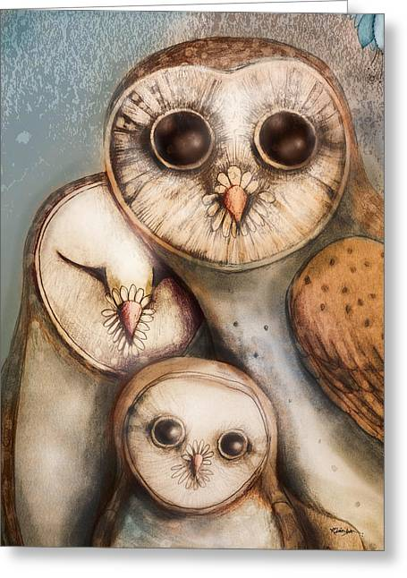 Baby Bird Greeting Cards - Three Wise Owls Greeting Card by Karin Taylor