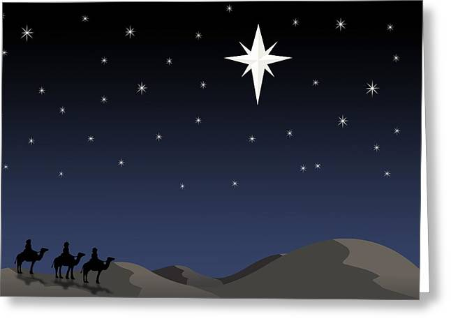 Star Of Bethlehem Greeting Cards - Three Wisemen Following Star Greeting Card by Daniel Sicolo